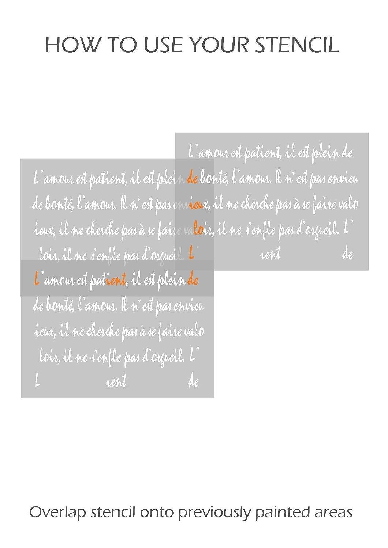 LIEBE Franz/ösische Schrift Love Wand M/öbel Fu/ßboden Schablone f/ür Malerei M/öbel Gro/ß