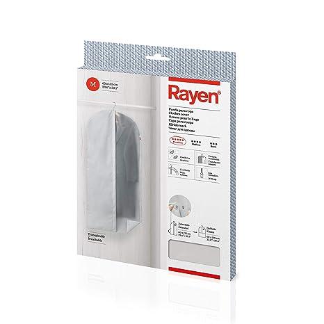 Rayen - Funda de ropa para armario. Funda de traje para percha con cremallera. Cubre vestido resistente al polvo, humedad y polillas. 60 x 135 cm. ...