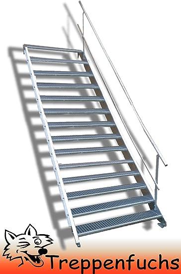 Escaleras de acero, de un solo lado, ancho exterior resistente, con rejilla, industrial, para exteriores, incluye accesorios, tamaño a elegir: Amazon.es: Bricolaje y herramientas