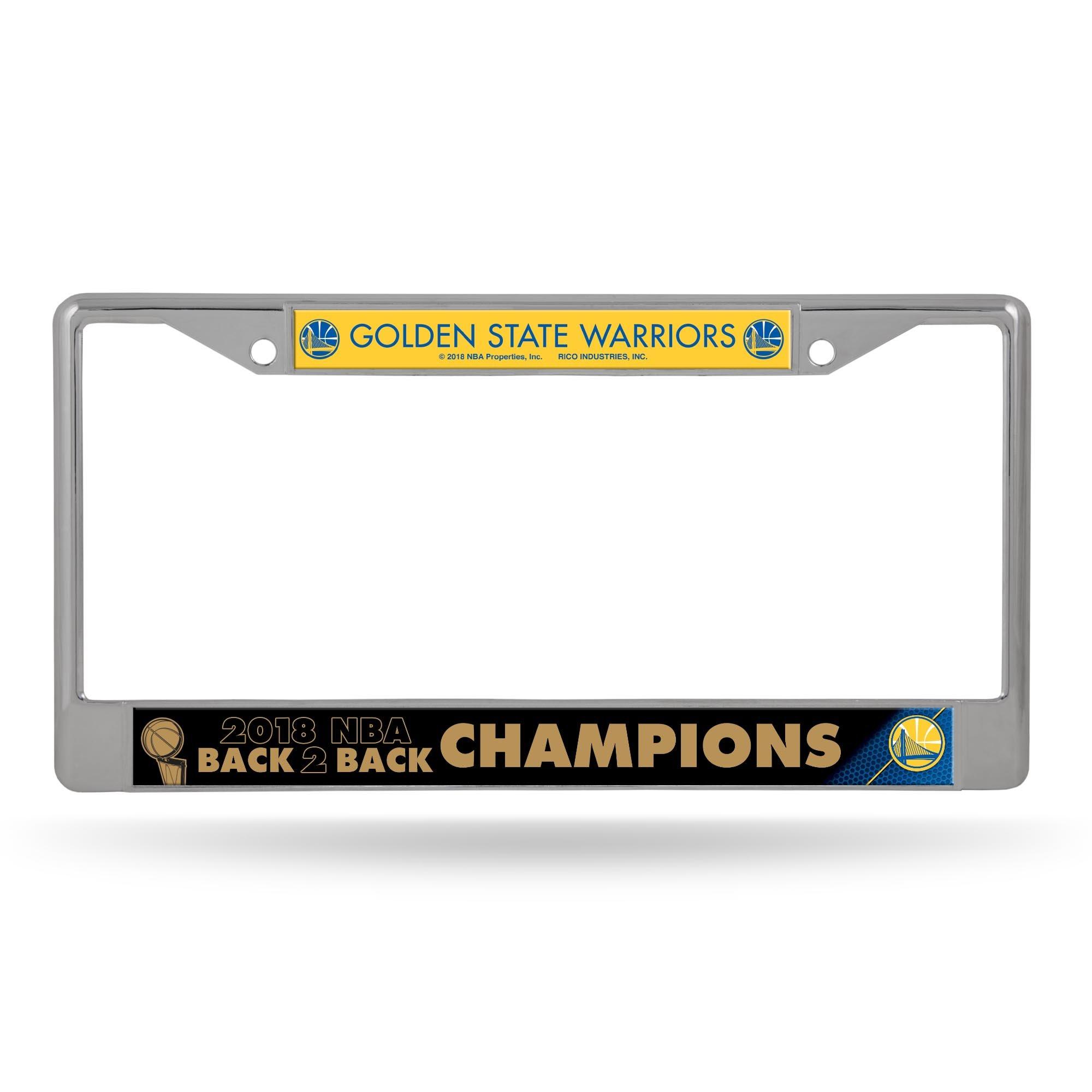 Rico Industries NBA Golden State Warriors 2018 Basketball Champions Standard Chrome License Plate Frame