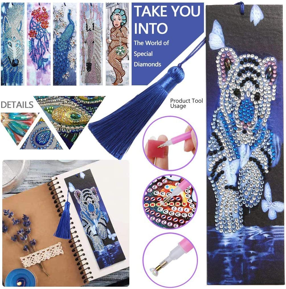 DIY Diamond Painting Kits for Adults Kids Beginner Diamond Painting Bookmarks Painting for 5D DIY Bookmarks with Tassel Arts Crafts Set Rhinestone Embroidery Handmade Gift