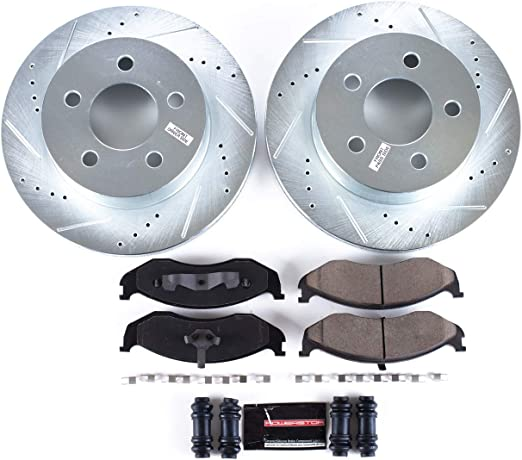 For 1993-1998 Jeep Grand Cherokee ZJ Rear Drill Slot Plated Brake Rotors