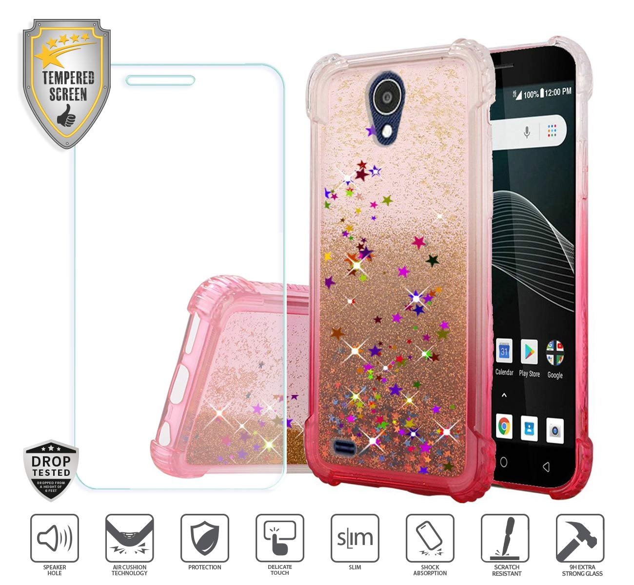 Compatible for At&t Axia QS5509a Case, Cricket Vision Case, with Tempered  Glass Screen Protector, Premium Design Case for Women Girl Liquid Water