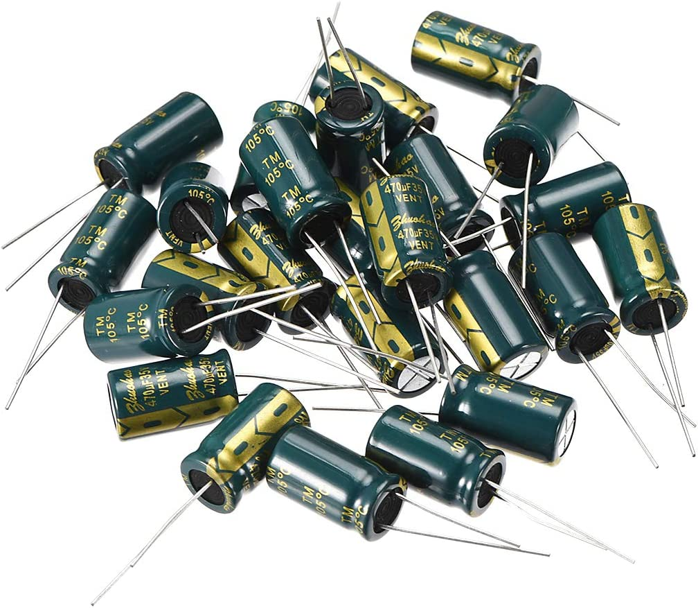 uxcell Aluminum Radial Electrolytic Capacitor Low ESR Green with 470UF 35V 105 Celsius Life 3000H 10 X17 Mm High Ripple Current,Low Impedance 25pcs