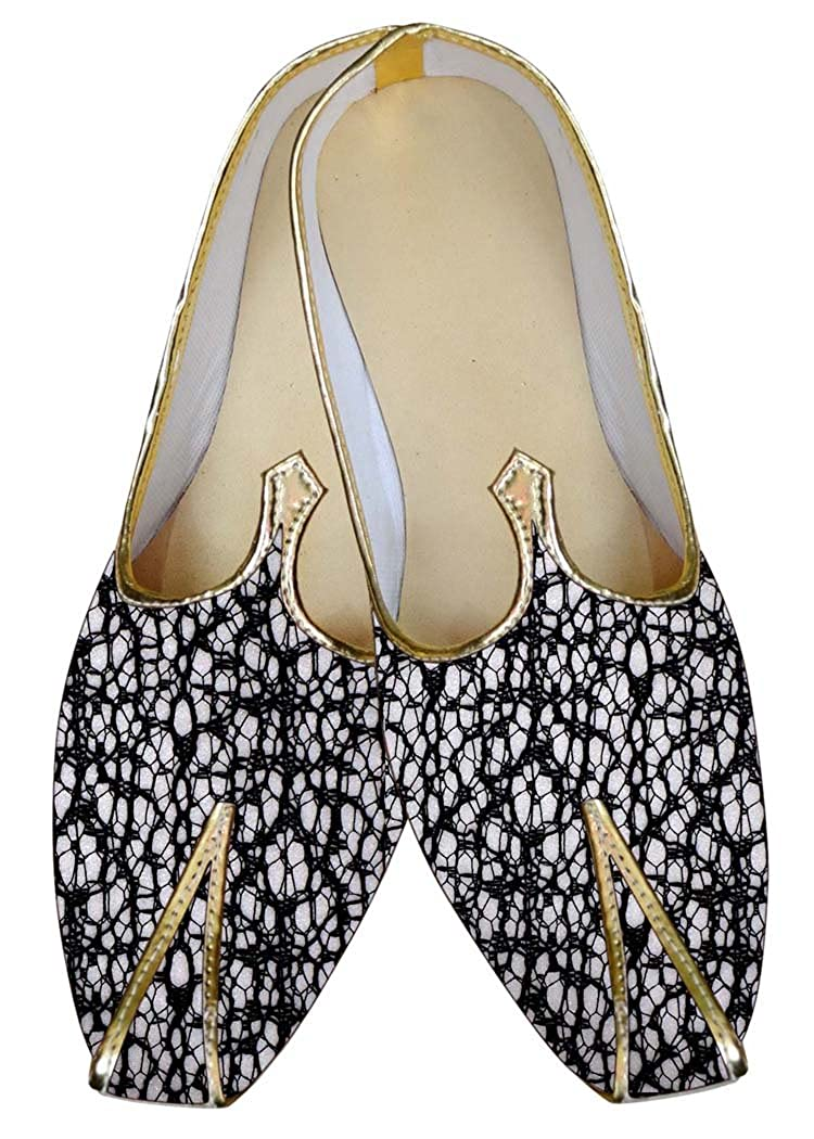 INMONARCH Hombres Blanco con Hilo Negro Zapatos de Boda MJ015828 40 EU