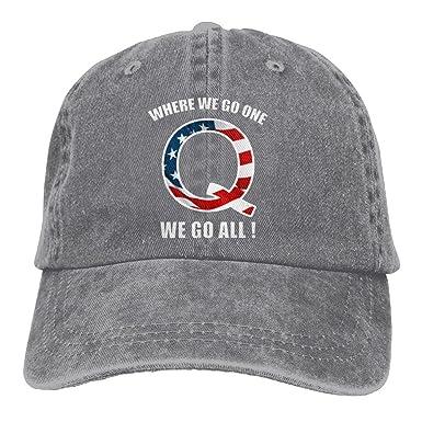 446437e6ee2 Qanon Where We Go One We Go All Dad Hat Adjustable Denim Hat Classic Baseball  Cap