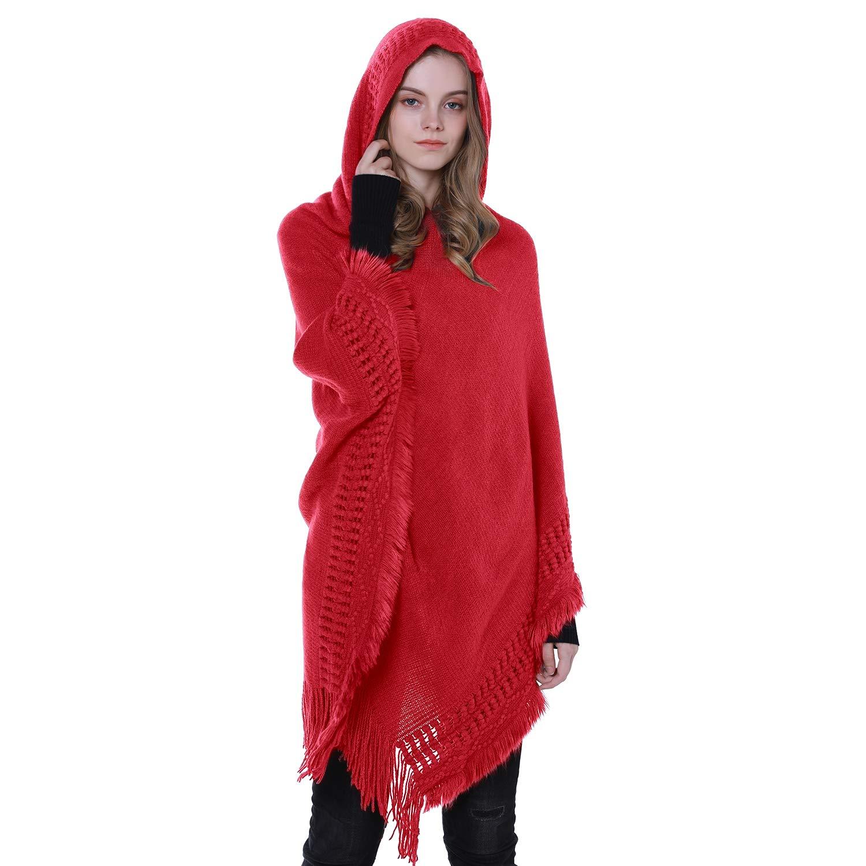 Tacobear Poncho Donna Elegante Mantellina Fatti a Maglia con Cappuccio Sciarpa a Maglia Calda Pullover Maglione Autunno Inverno Poncho per Donna