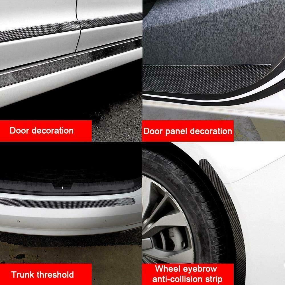 KKmoon Door Sill Protector Universal Car Sticker 4D Carbon Fiber Rubber DIY Protectors Edge Guard 1m 5cm