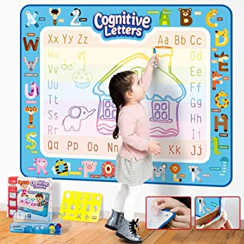 XL Kangler Aqua Magic Doodle Mat 40 X 32 Inches Extra Large Water Drawing Doodling Mat Coloring Mat Educational Toys Gifts for Kids Toddlers Boys Girls Age 2 3 4 5 6 7 8 Year Old