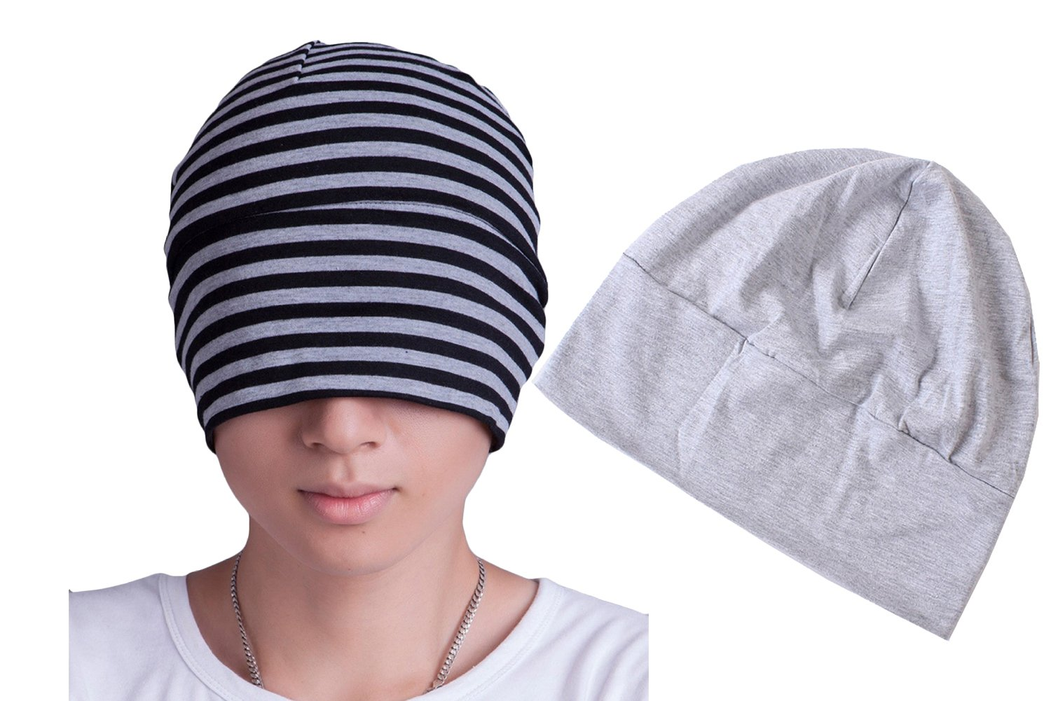 BW Women Men Cotton Sleeping Cap With Eye Mask Chemo Beanie Hat 2 Pack A