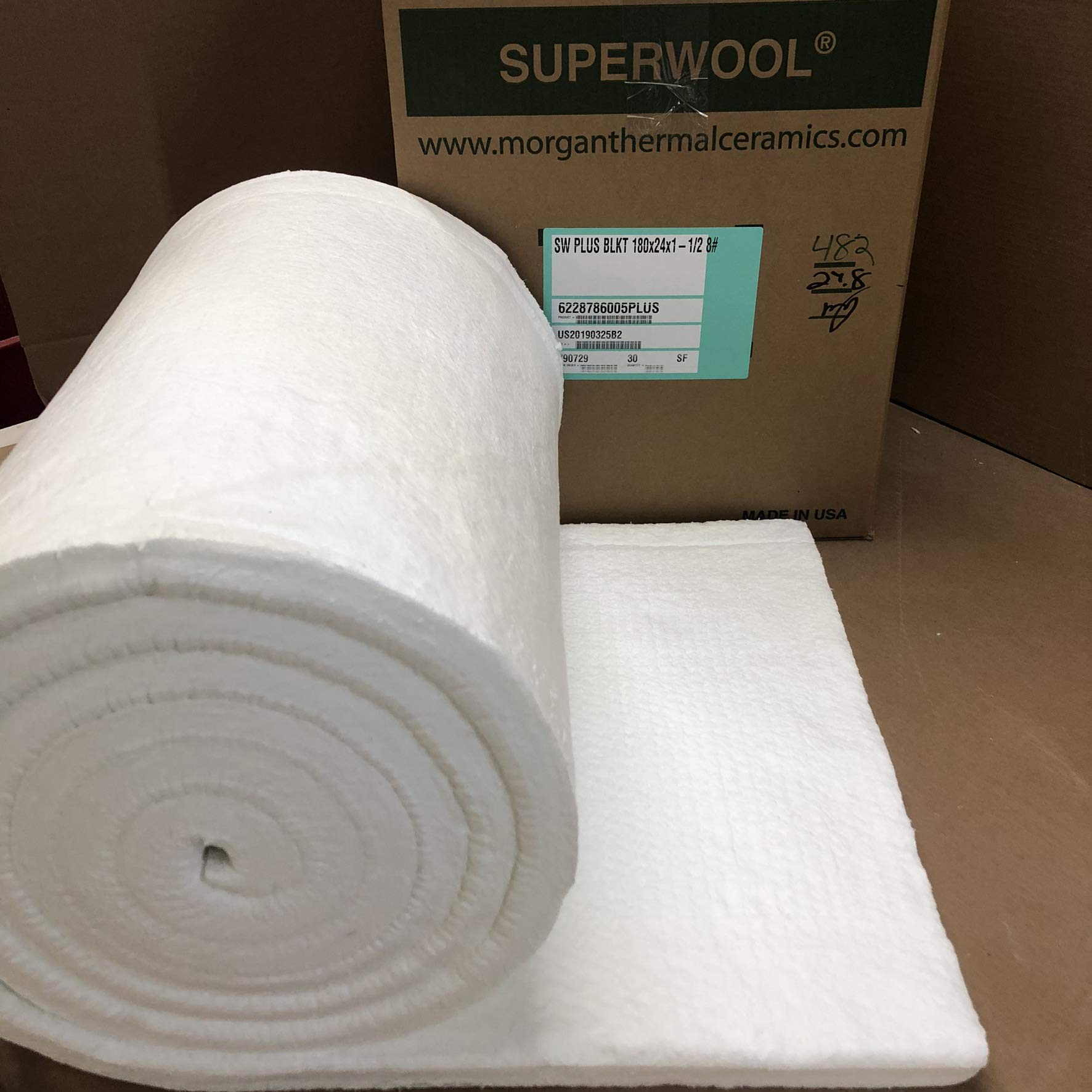 Lynn Manufacturing 1.5'' Thick, Superwool Plus Blanket, Morgan Thermal Ceramics, 2100F Rated, 8 Lb. Density, 24'' Wide, 15 Ft. Long by Lynn Manufacturing