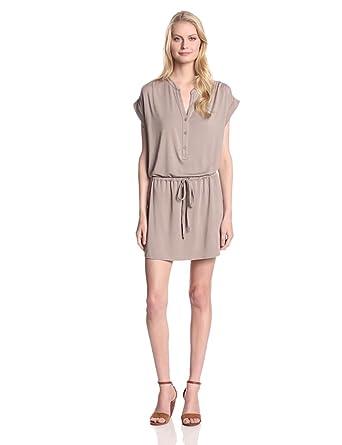 Michael Stars Women's Modal Amelia Sleeveless Henley Dress with Pockets and Tie Waist, Taupe, Medium