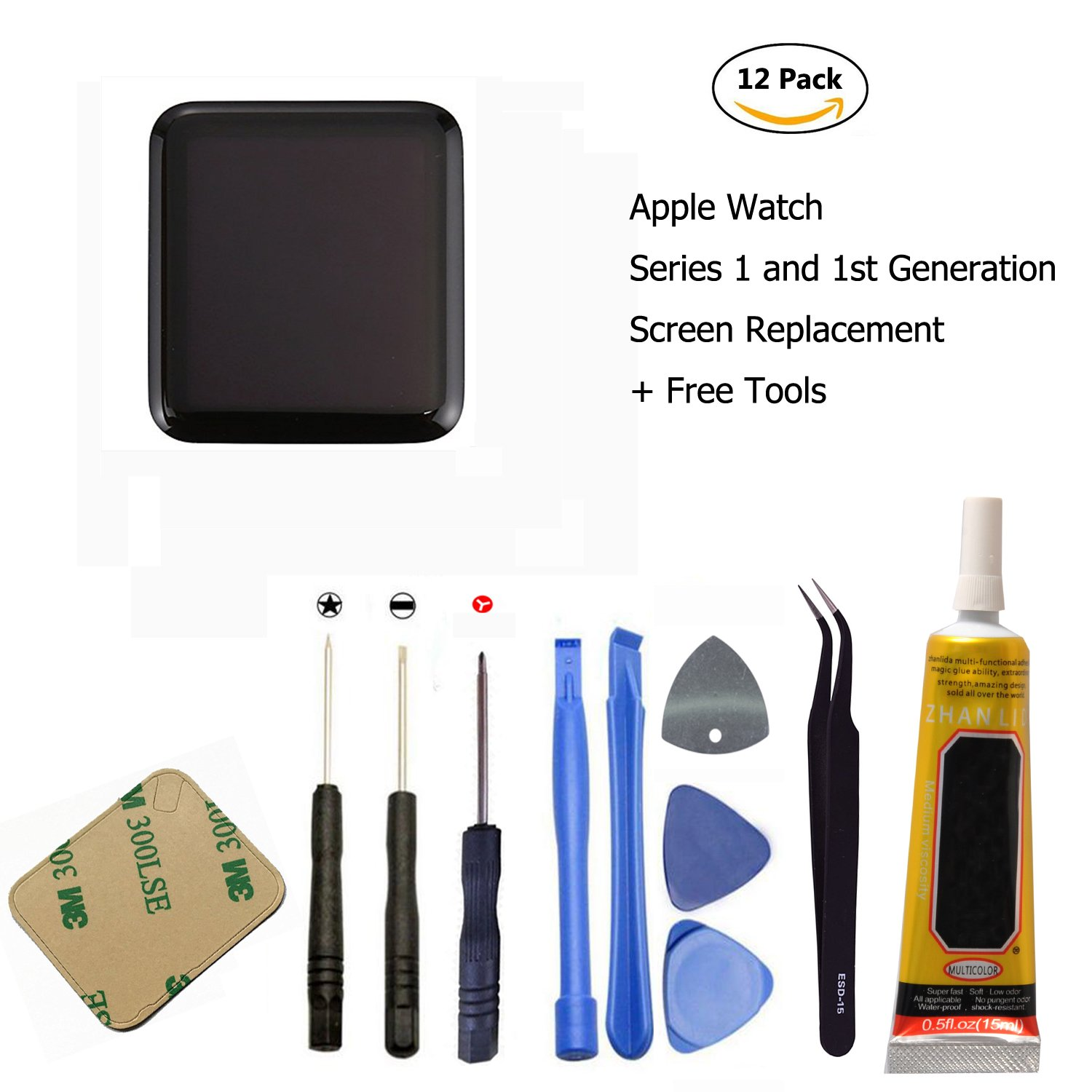 Ogodeal Apple Watch Series 1 A1803 and (1st generation) A1554 Screen Repair Kit 42mm Sapphire Crystal Version LCD Screen and Digitizer Assembly Replacement with Repair Tool Set by ogodeal (Image #1)