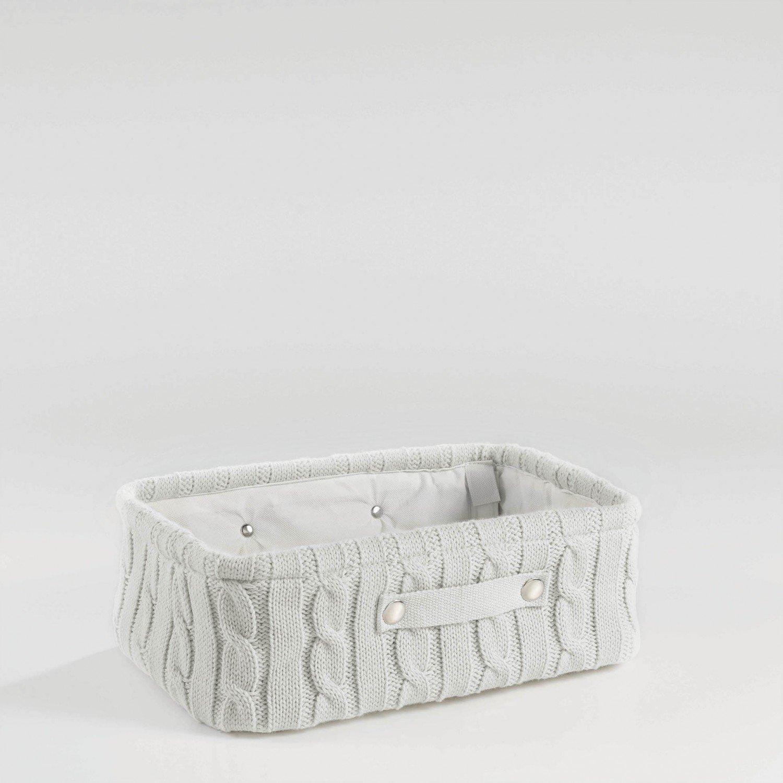 Aufbewahrungskorb Korb Strick Rund Grau, Rosa Oder Weiss, Farbe:Grau Arinosa