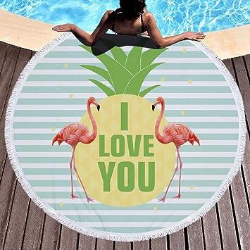 LITTHING Toalla Redonda de Playa Tapete de Yoga Manta de Piscina Picnic Toalla de Baño de Microfibra de poliéste con Encaje de Borlas secado rápido 150 ...