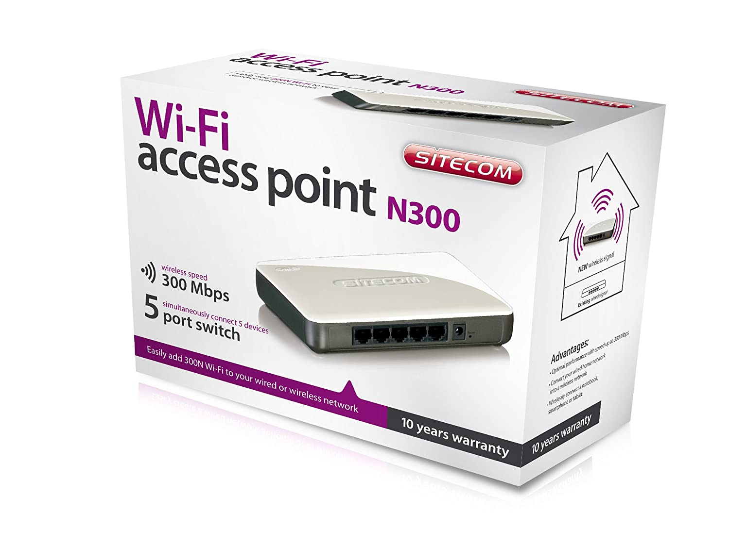 Sitecom Wi Fi Access Point N300 Mit 5 Port Switch Amazonde