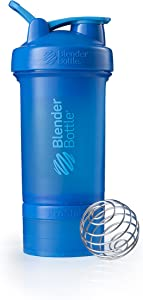 BlenderBottle C01714 ProStak System with 22-Ounce Bottle and Twist n' Lock Storage, 22 oz, Cyan