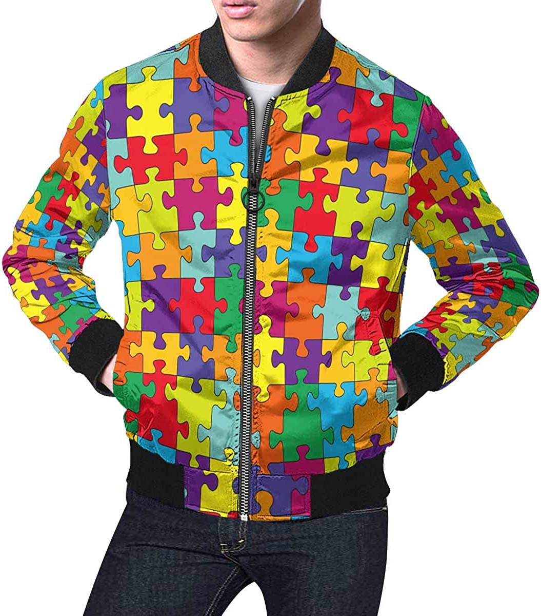 INTERESTPRINT Mens Puzzle with Split Complementary Colors Classic Casual Jacket