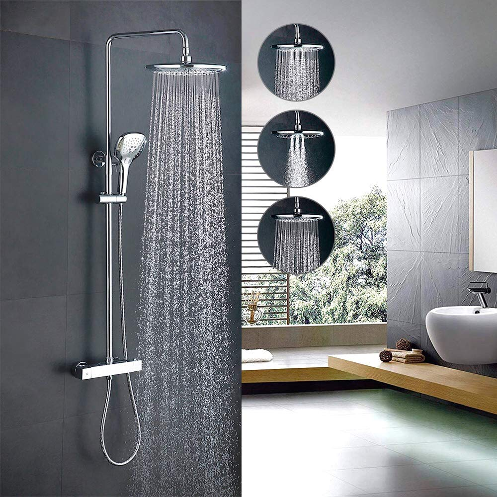 Home Lody Thermostat Shower System Thermostatic Shower Mixer Set Bathroom Shower Set with Riser Rail Kit Shower Head and 3 Functions Hand Shower Homelody