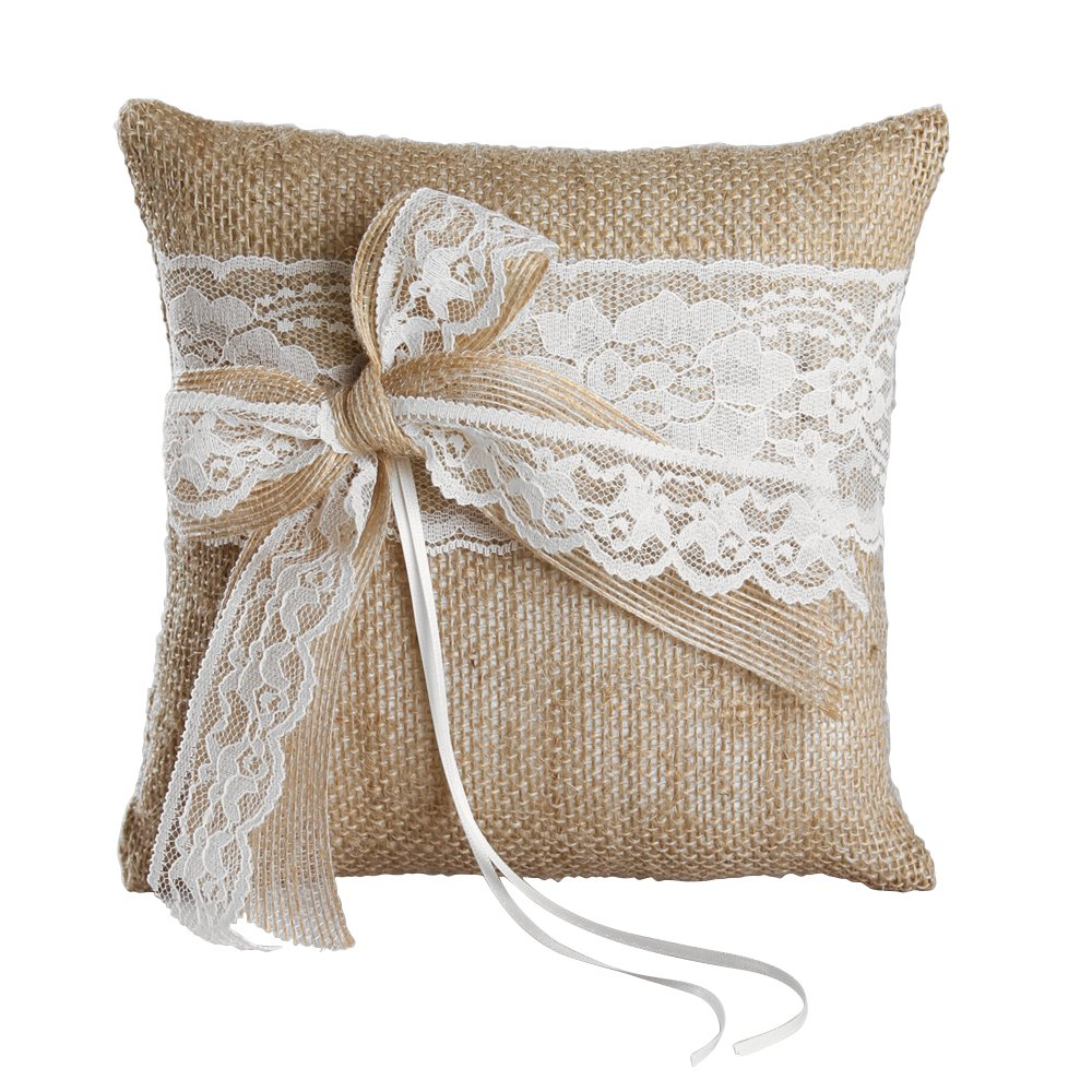 Ivy Lane Design Country Romance Square Ring Pillow, 8-Inch, White
