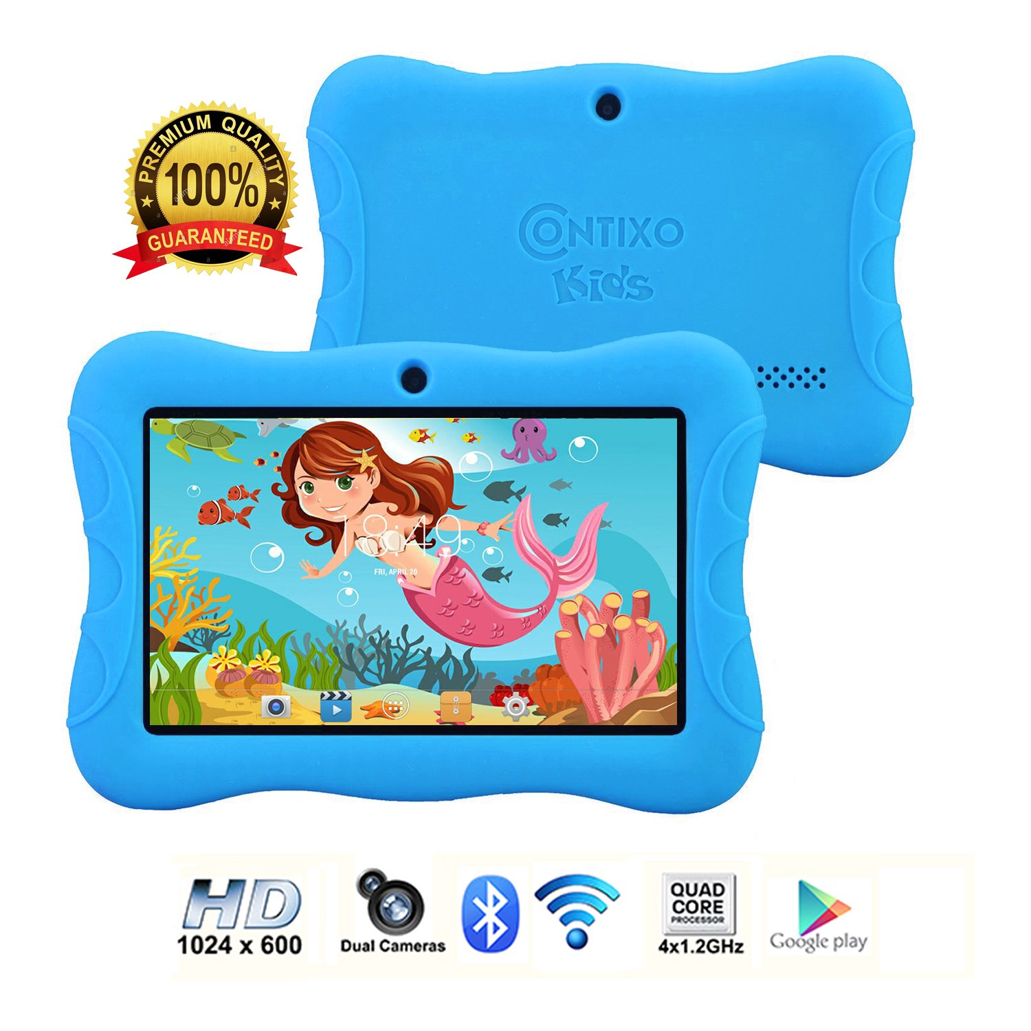 Contixo Kids Tablet K3 | 7'' Display Android 6.0 Bluetooth WiFi Camera Parental Control for Children Infant Toddlers w/Free Tablet Case (Sky Blue)