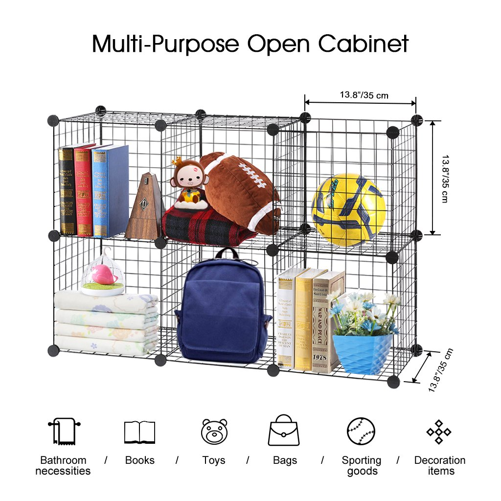 LANGRIA 24 pcs Metal Wire Storage Cubes Organizer, DIY Small Animal Cage for Rabbit, Guinea Pigs, Puppy | Pet Products Portable Metal Wire Yard Fence (Black) by LANGRIA (Image #5)