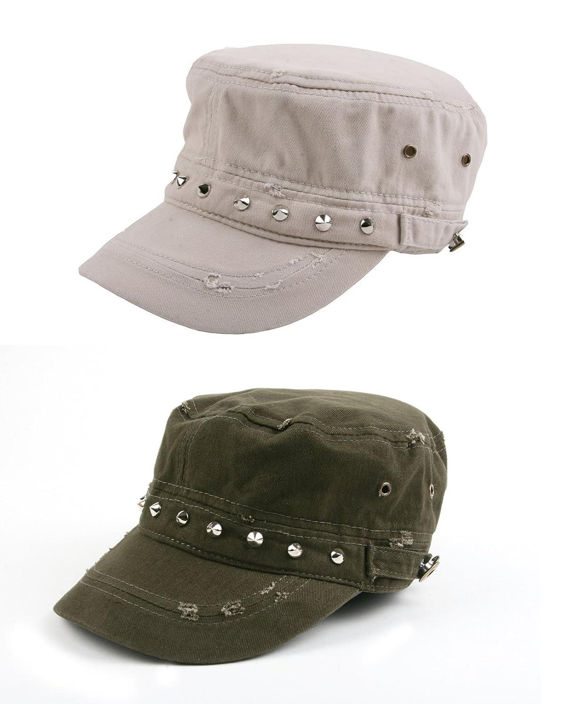 8eda6b28300 Amazon.com  Pop Fashionwear 100% cotton Army-Inspired Cadet Hat 172HC (2  Pcs Army Green   Army Green)  Clothing