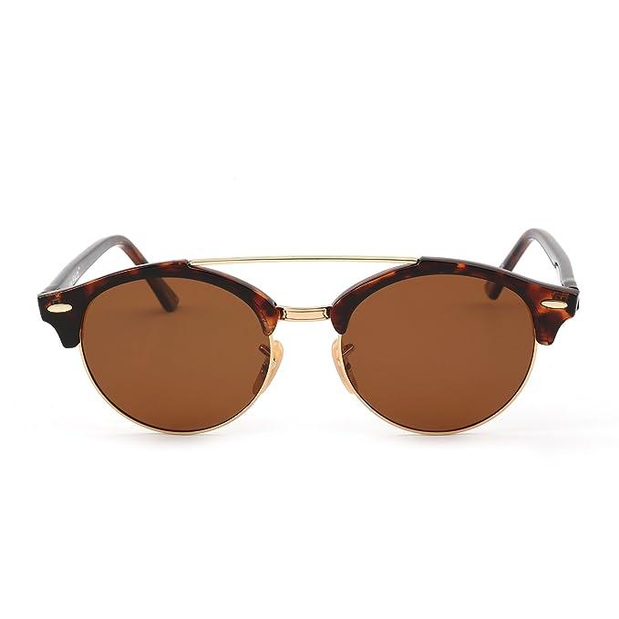 923ec27d19a Polarized Round Mirrored Sunglasses Semi Rimless Eyeglasses Men Women ( Tortoise Brown)