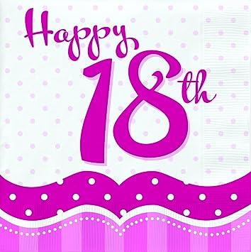 Perfekt Zum 18 Geburtstag Rosa 18 Servietten Amazon De Spielzeug