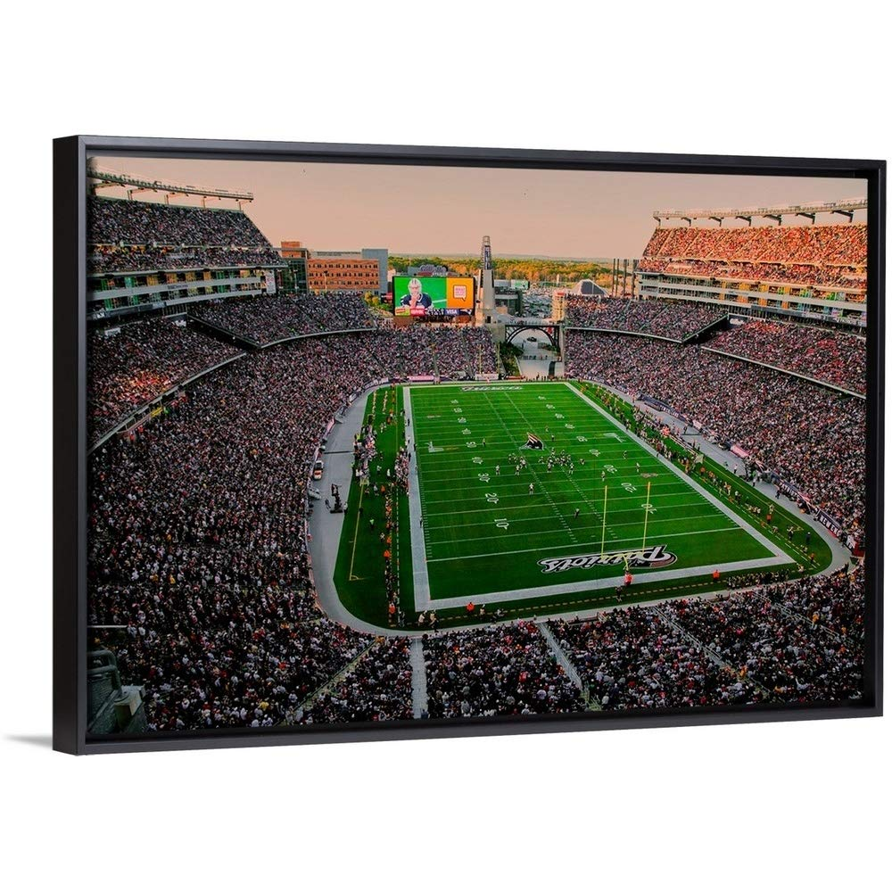 """Panoramic Images Floating Frame Premium Canvas with Black Frame Wall Art Print Entitled Elevated View of Gillette Stadium, New England Patriots 24""""x16"""""""