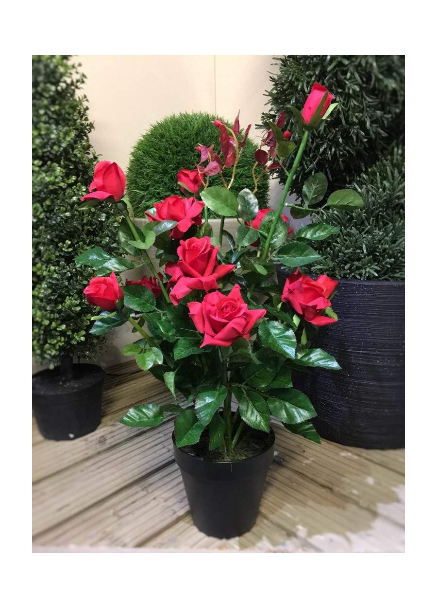 Best Artificial 2ft 65cm Rose Plant Garden Office Conservatory Tropical Indoor Outdoor Tree (Pink)