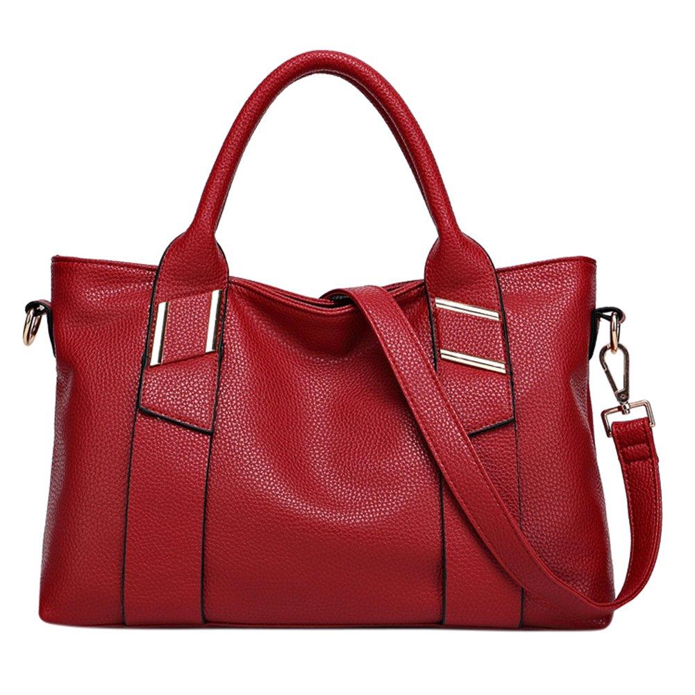 ThinkMax Fashion Women Embossed Soft PU Leather Top Handle Satchel Tote Bag High-capacity Shoulder Bag Claret