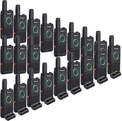 Retevis RT18 Walkie Talkies Rechargeable FRS Radios UHF 16 Channel Dual PTT VOX Super Thin Small 2 Way Radios 2 Pack