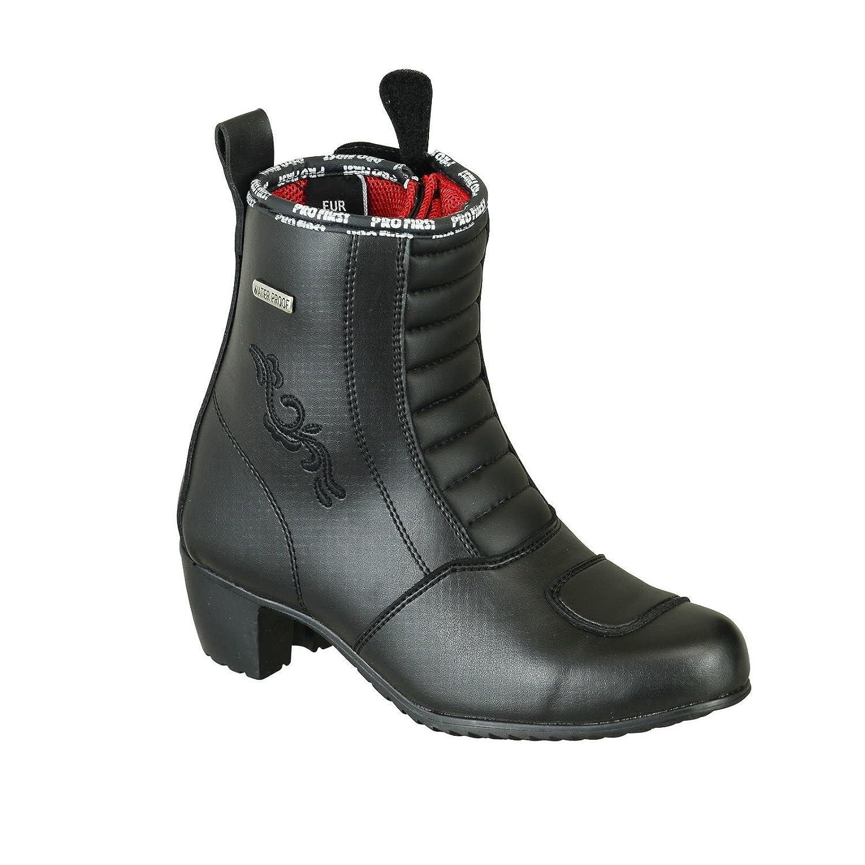 ProFirst Echtes Leder Damen High Heel Motorrad Stiefel Anti Slip Gummi Seele Motorrad wasserdichte Cruiser Boot Schuhe Rennsport | Schwarz Black, EU