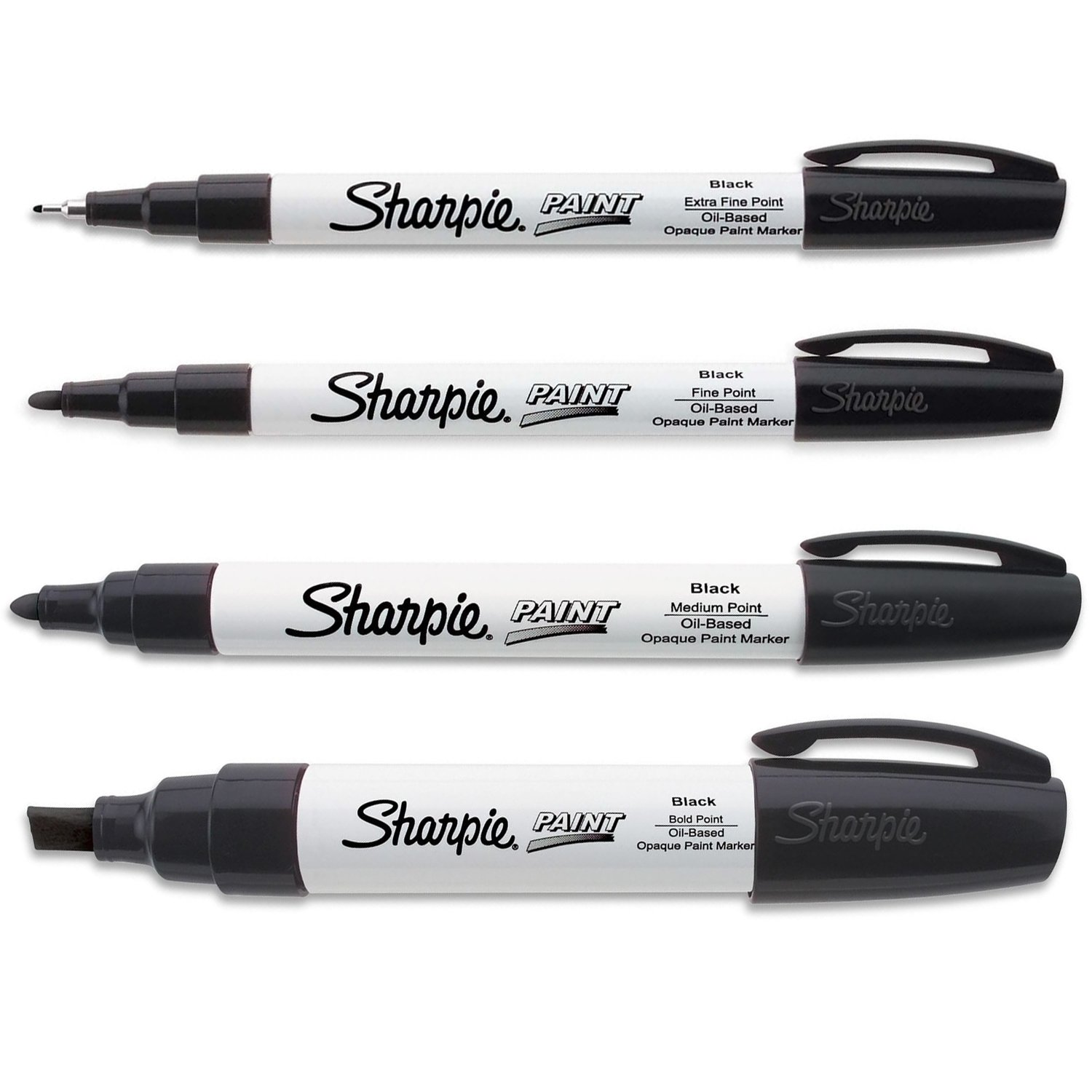 Sharpie Paint Marker Oil Based Black All Sizes Kit with Ex Fine, Fine, Medium & Bold
