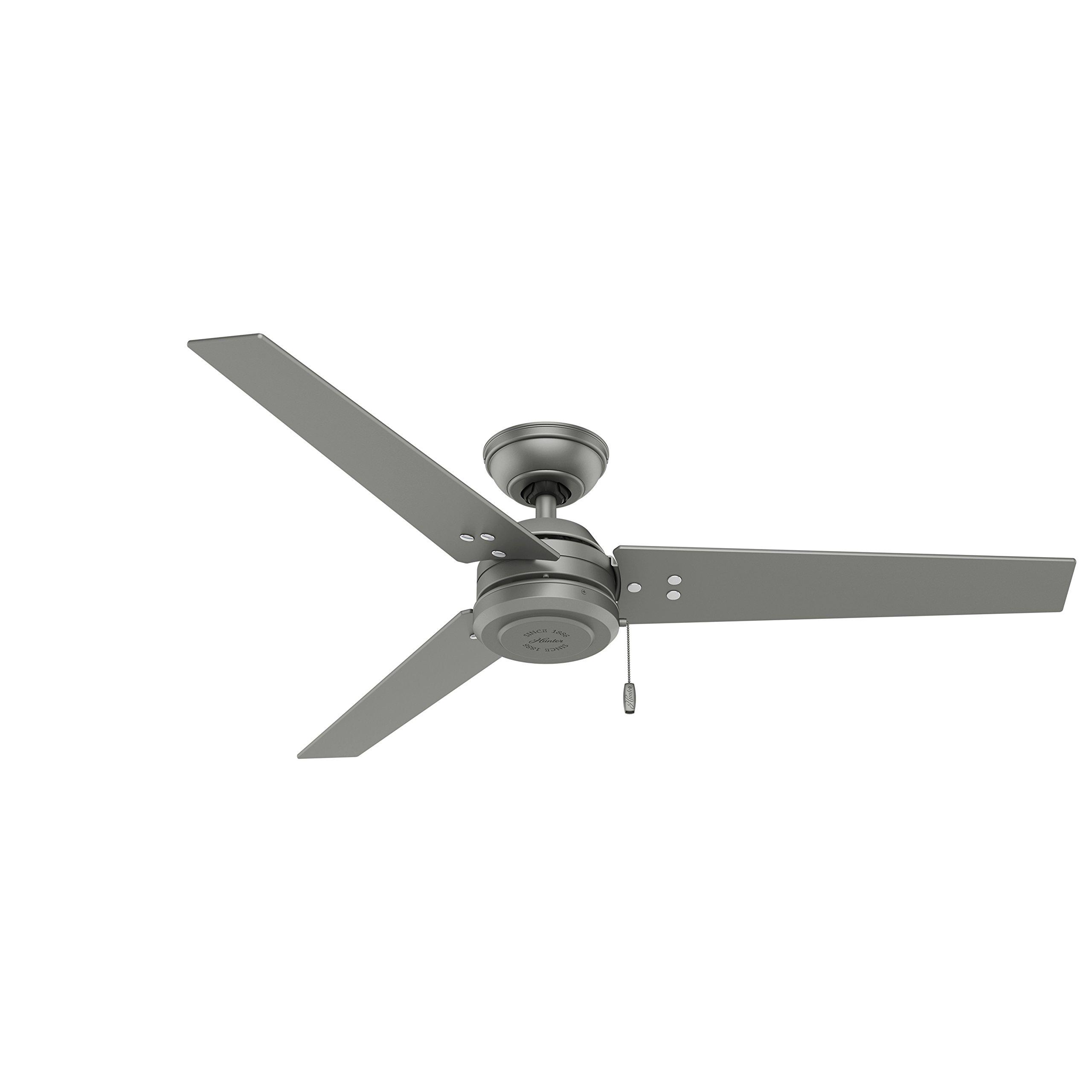 Hunter 59262 Contemporary Cassius Matte Silver Ceiling Fan, 52''