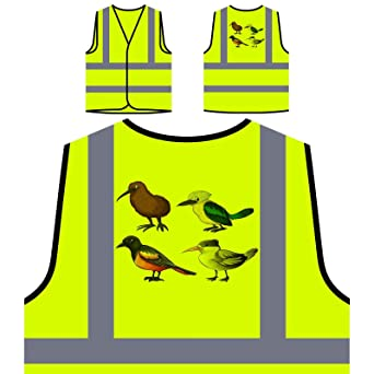 Ilustración cuatro diferentes tipos de aves Chaqueta de seguridad amarillo personalizado de alta visibilidad g692v