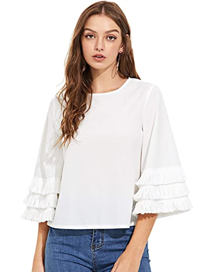 6394a5373447d1 Amazon.com  SheIn Women s Round Neck Layered 3 4 Bell Sleeve Plain Top  Blouse White Medium  Clothing