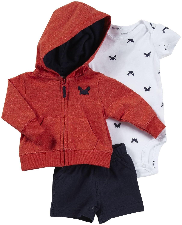 Carters 3 Piece Cardigan /& Shorts Set Crab-3 Months Baby