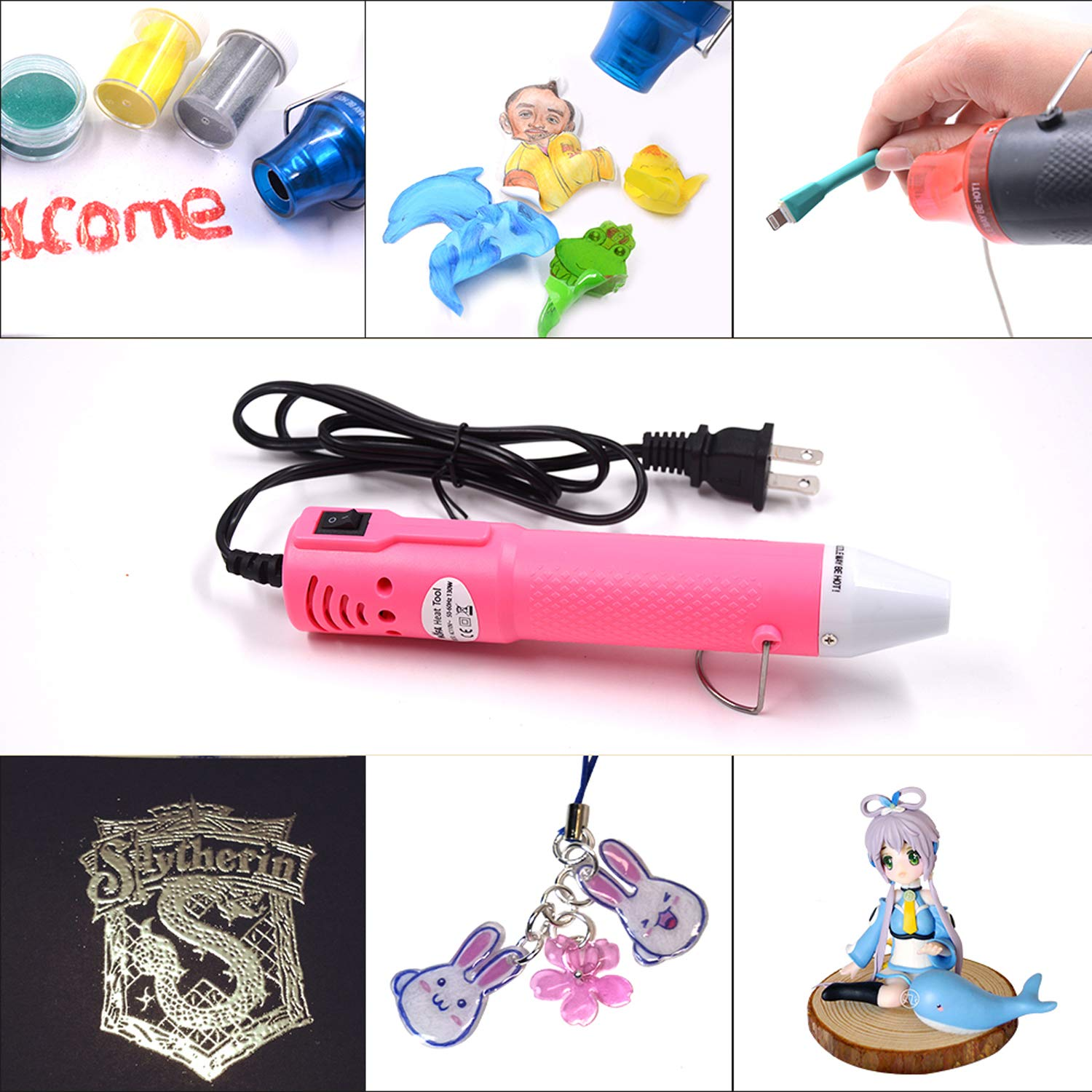 mofa Embossing Heat Pen,Mini Heat Gun,Hot Air Pen Tools Shrink Pen with Stand For DIY Embossing And Drying Paint Multi-Purpose Electric Heating Nozzle 130W 110V Pink,White