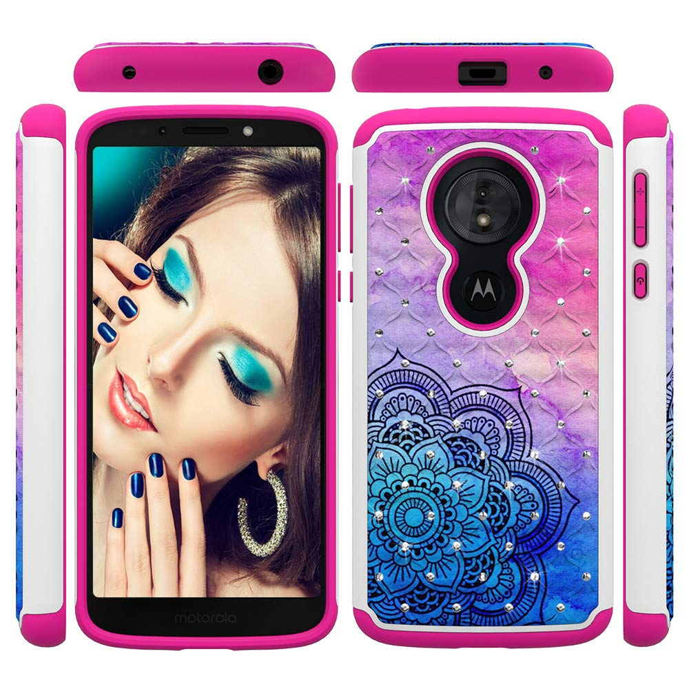 Moto G6 Play Case IVY Dual Layer 2 in 1 [Painted Pattern & Diamond][Heavy Duty] Rugged Rubber Hybrid PC+TPU Back Protective Cover for Motorola Moto G6 Play - Butterfly IVYYB2in1PDMotoG6Play-05