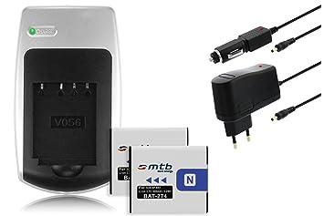 2x Baterías + Cargador para Sony NP-BN1 - Consulte la lista de compatibilidad
