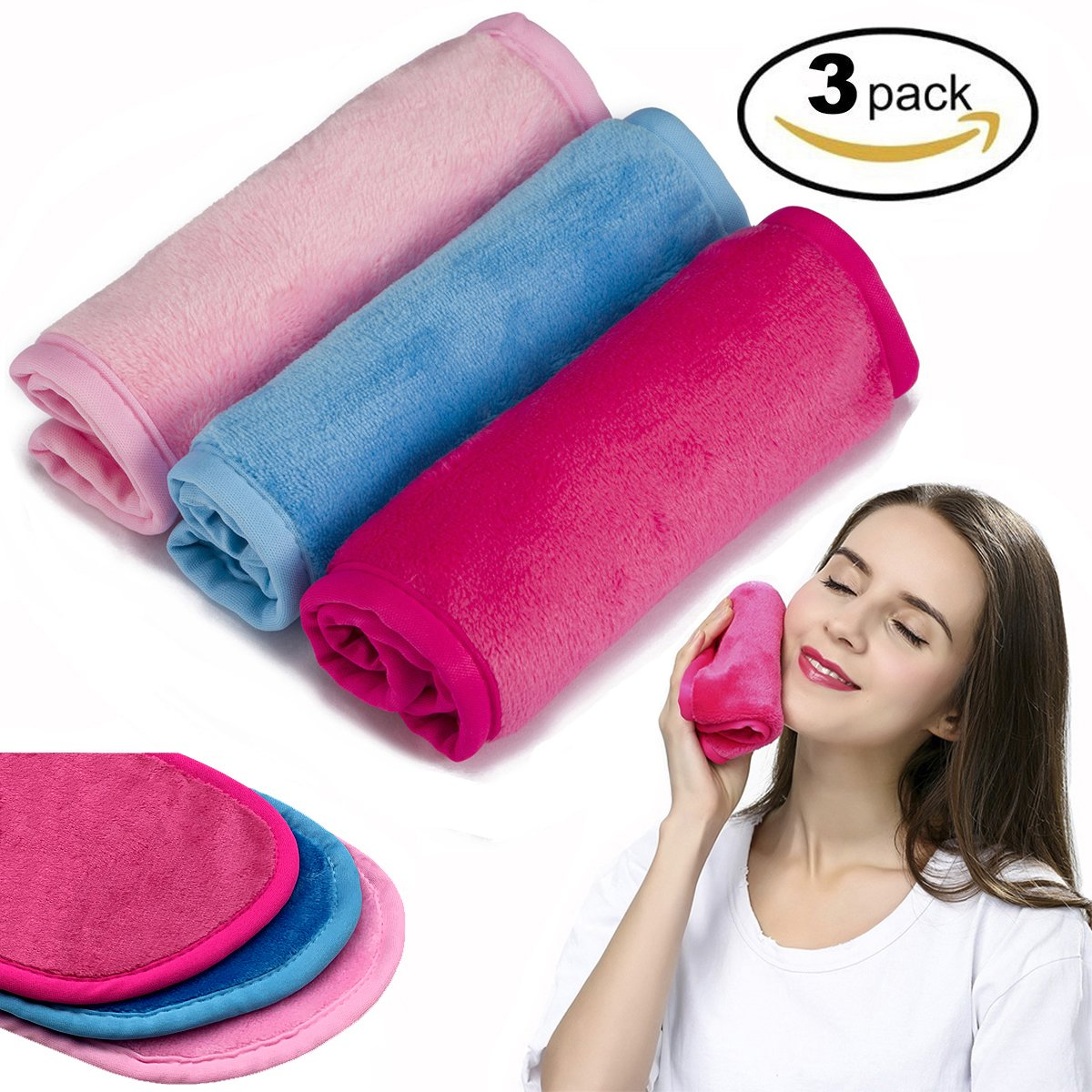 Makeup Remover Cloth 3 Pack - Chemical Free, Move Makeup Instantly with Just Water, Reusable Facial Cleansing Towel, Satisfaction Guaranty (1Pink+1Blue+1Rosy)