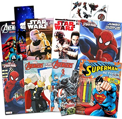 Amazon.com: Disney Coloring Books For Kids Toddlers Bulk Set ~ Bundle  Includes 8 Star Wars And Avengers Books, Sticker Pack, And Superhero Door  Hanger (Superhero Party Supplies): Toys & Games