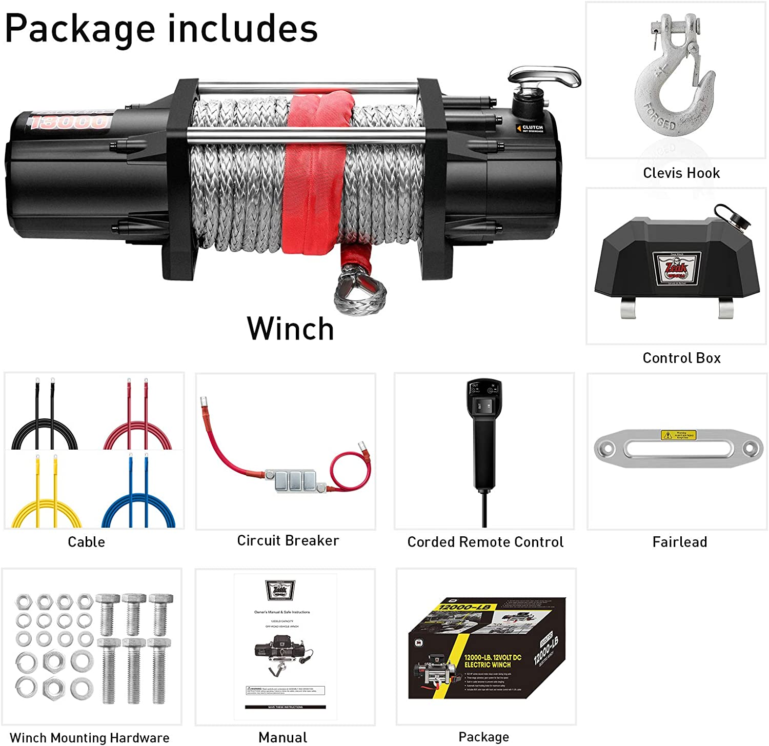 for Jeep Wrangler Truck Wireless Remote Premium Electric Winch 12V Waterproof Synthetic Rope ZEAK 13000 lb