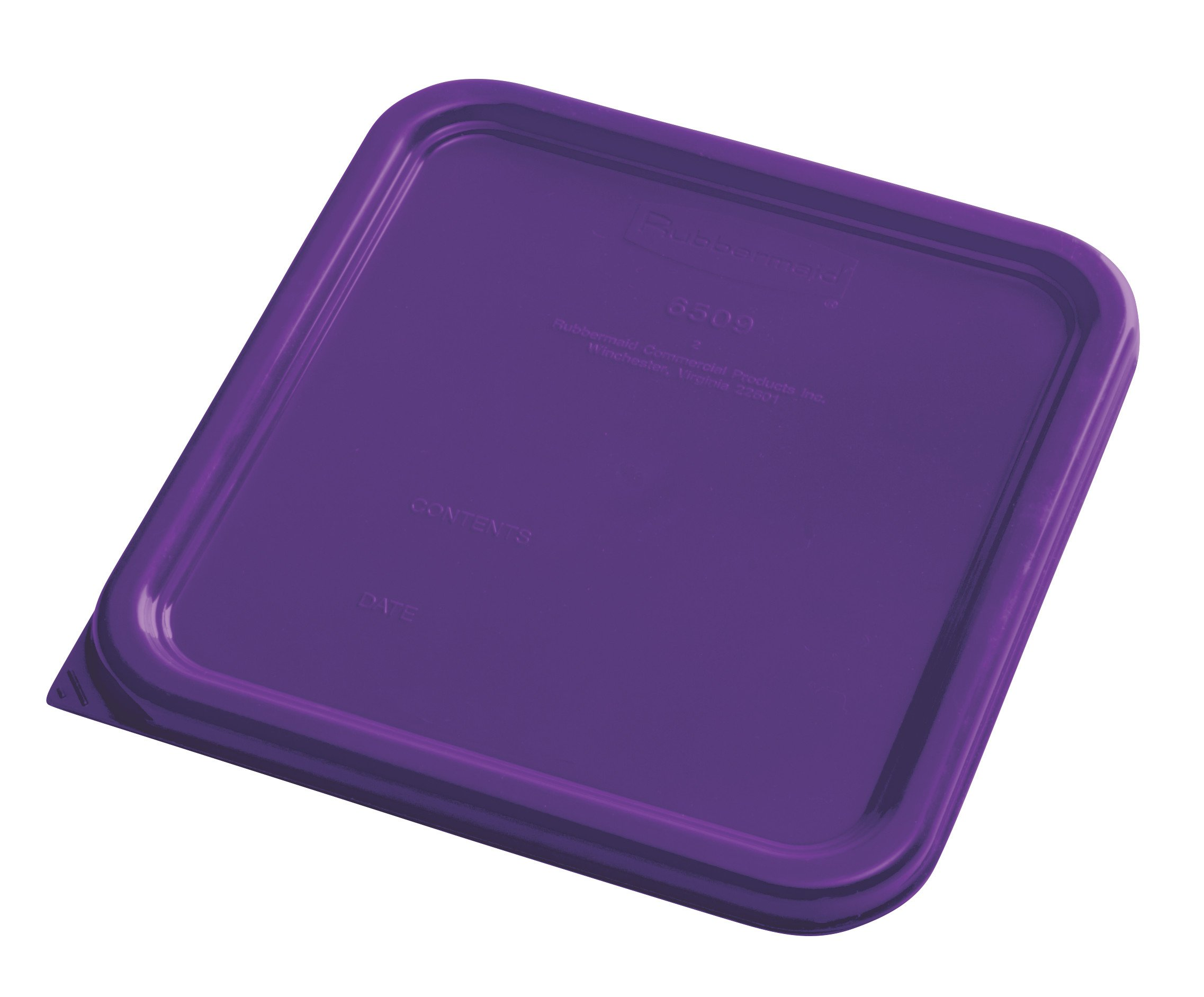 Rubbermaid Commercial Products 1980304 Rubbermaid Commercial Plastic Food Storage Container Lid, Square, Purple, 4 and 8 quart