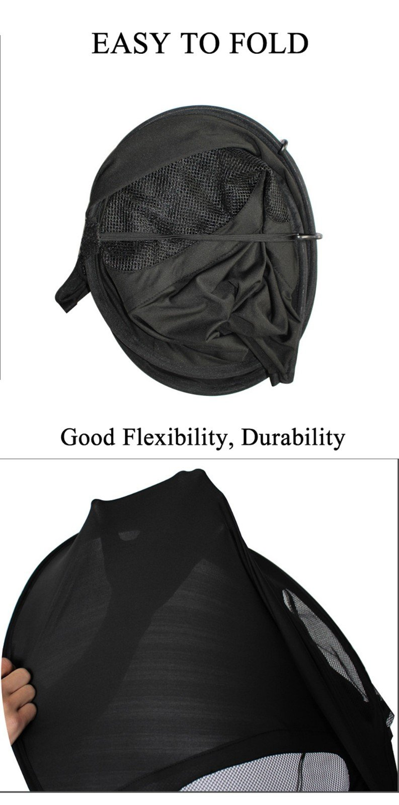 Baby Stroller Sun Ray Shade Pram UV Protection Cover, Weather Shield, Universal, Cotton LYCRAR for Infant Kids- 4 Colors,Black by YWXJY (Image #5)