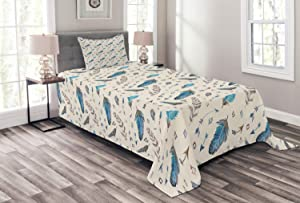 Lunarable Arrows Bedspread, Tribal Style Design Arrows Colorful Feathers Oil Painting Effect, Decorative Quilted 2 Piece Coverlet Set with Pillow Sham, Twin Size, Blue Grey