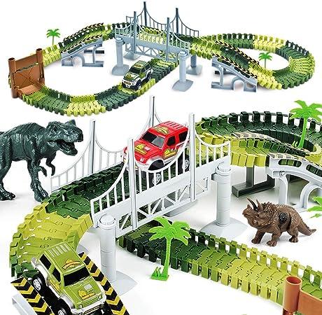 AUUGUU Kids Dinosaur Race Car Track with Flexible Track, Dino Toys, Bridge, Ramps and 2 Race Car Toys – Prehistoric Race Track for Kids Age 3-5