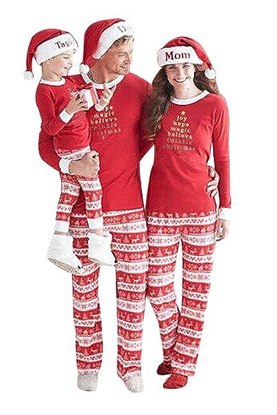 Pigiama Natale Famiglia Due Pezzi Xmas Pantaloni e T-Shirt Lettera Stampati  Rossi Vacanza Babbo f4e034c2f20